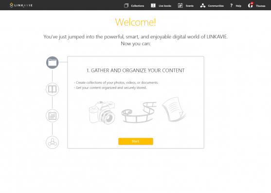 Linkavie Welcome page