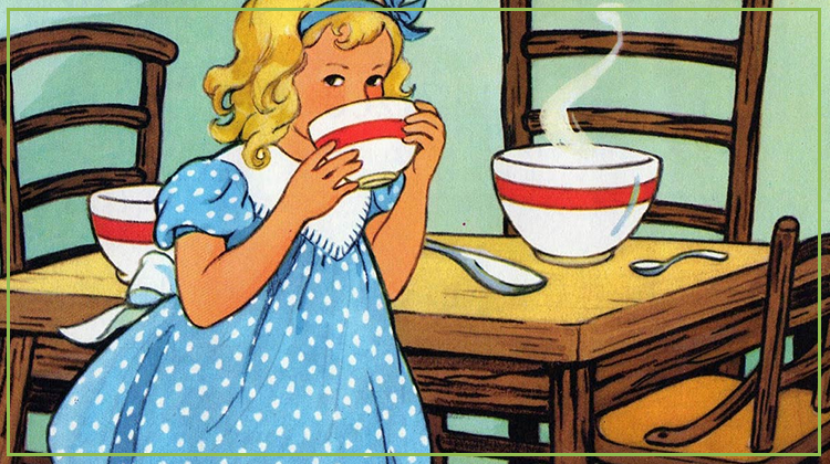 Goldilocks eating from a bowl of porridge which is just right