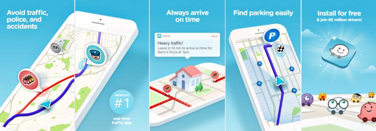 Waze navigation app screenshot