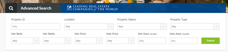 property search feature for a real estate website